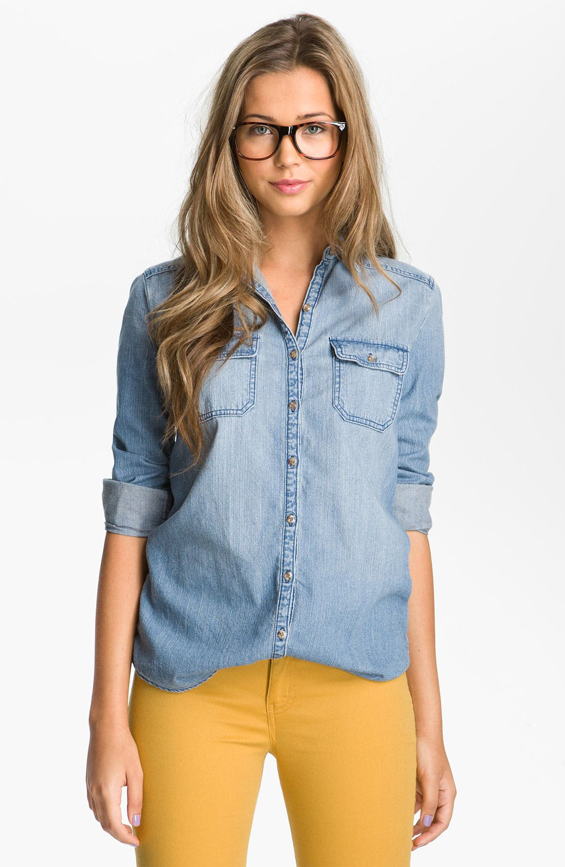 Alternate Image 1 Selected - Rubbish® Chambray Boyfriend Shirt (Juniors)