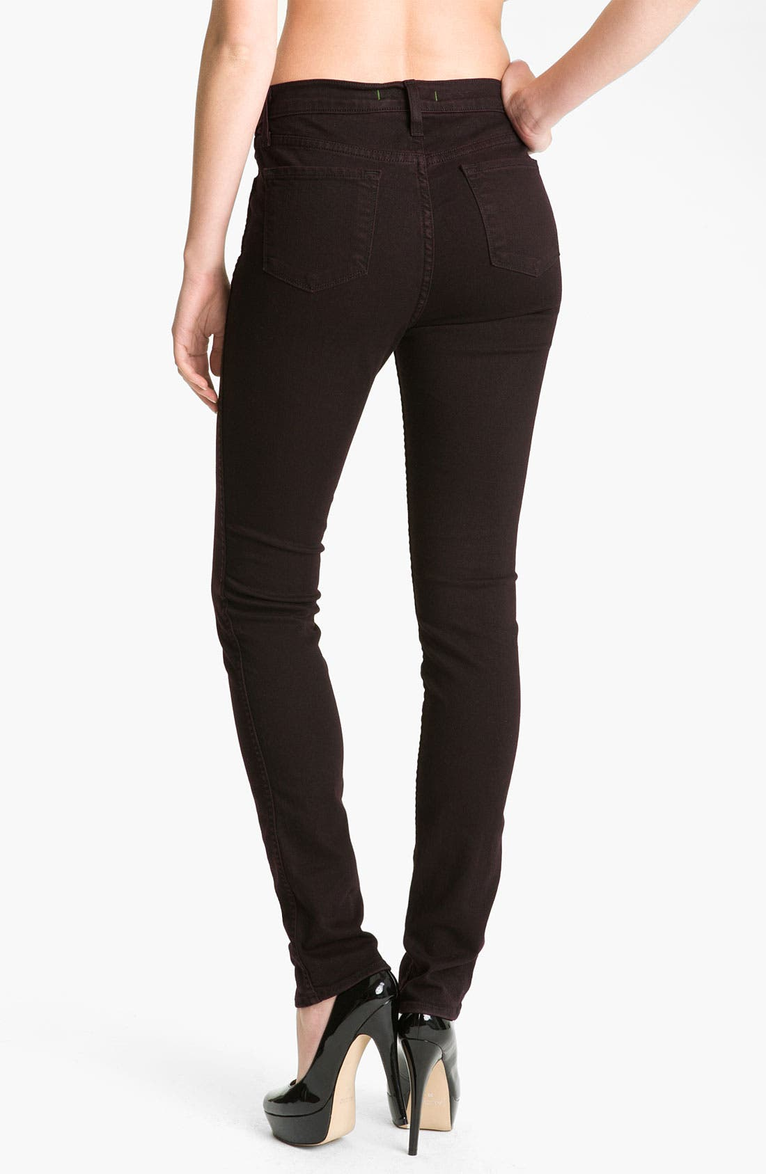 Alternate Image 2  - J Brand 'Sasha' High Rise Skinny Jeans (Noir Red)