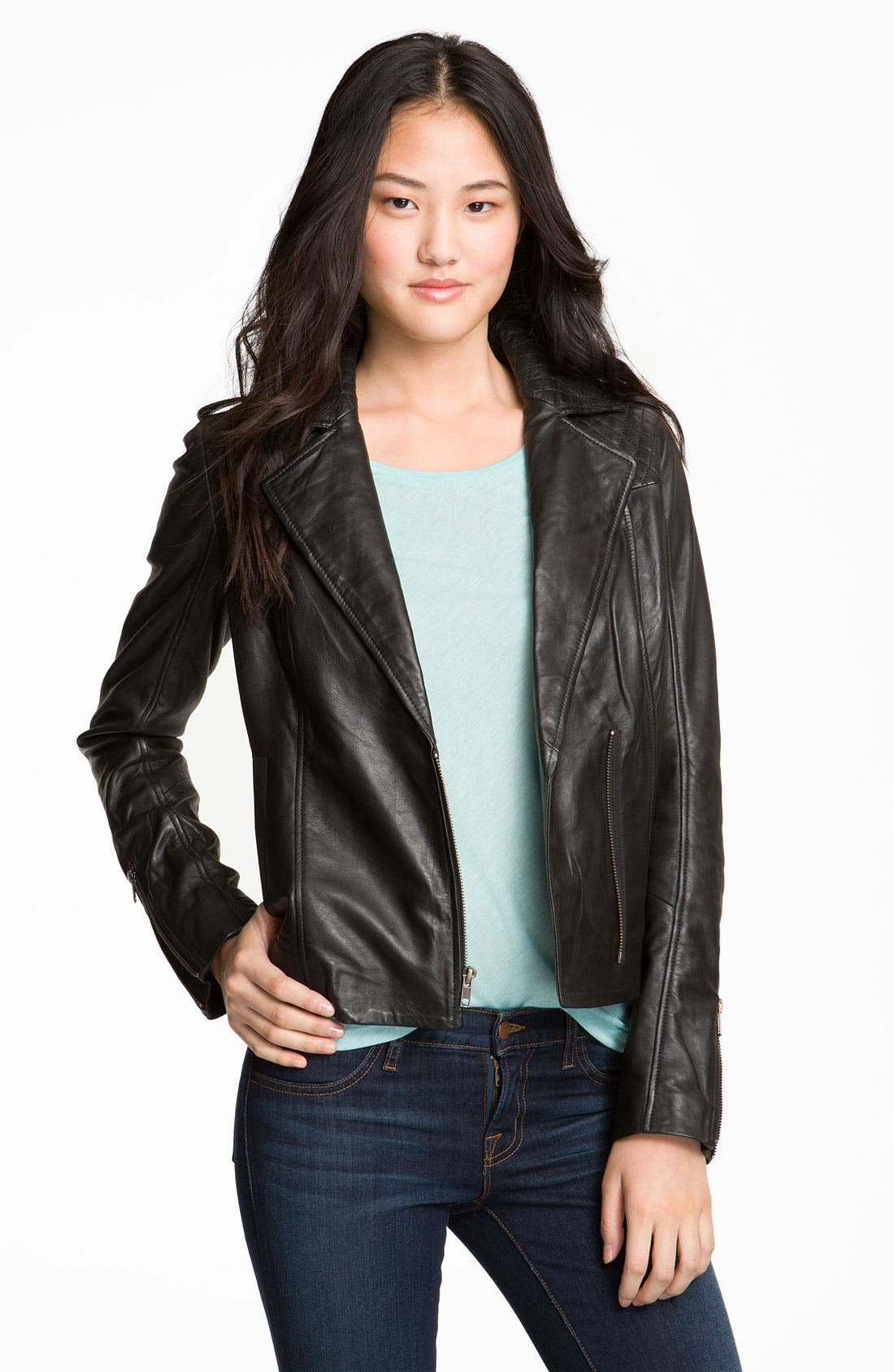 Alternate Image 1 Selected - Trouvé Quilted Leather Biker Jacket