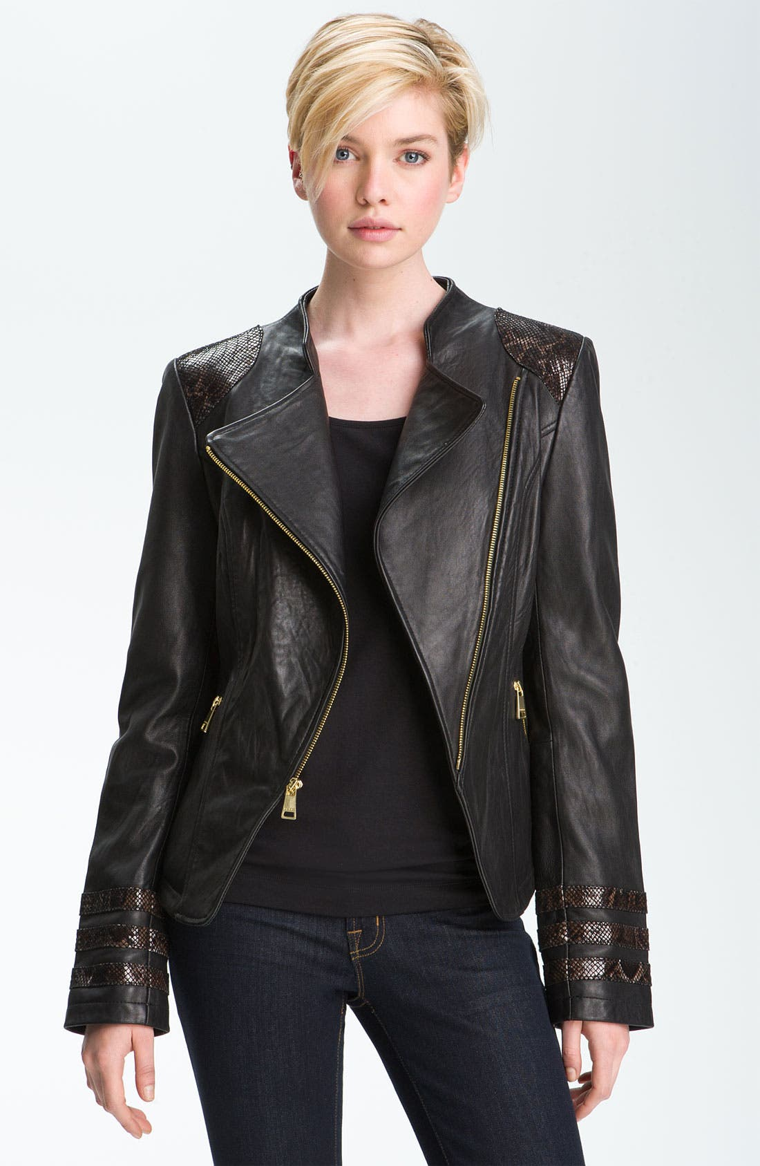 Alternate Image 1 Selected - bebe Snakeskin Embossed Trim Leather Jacket