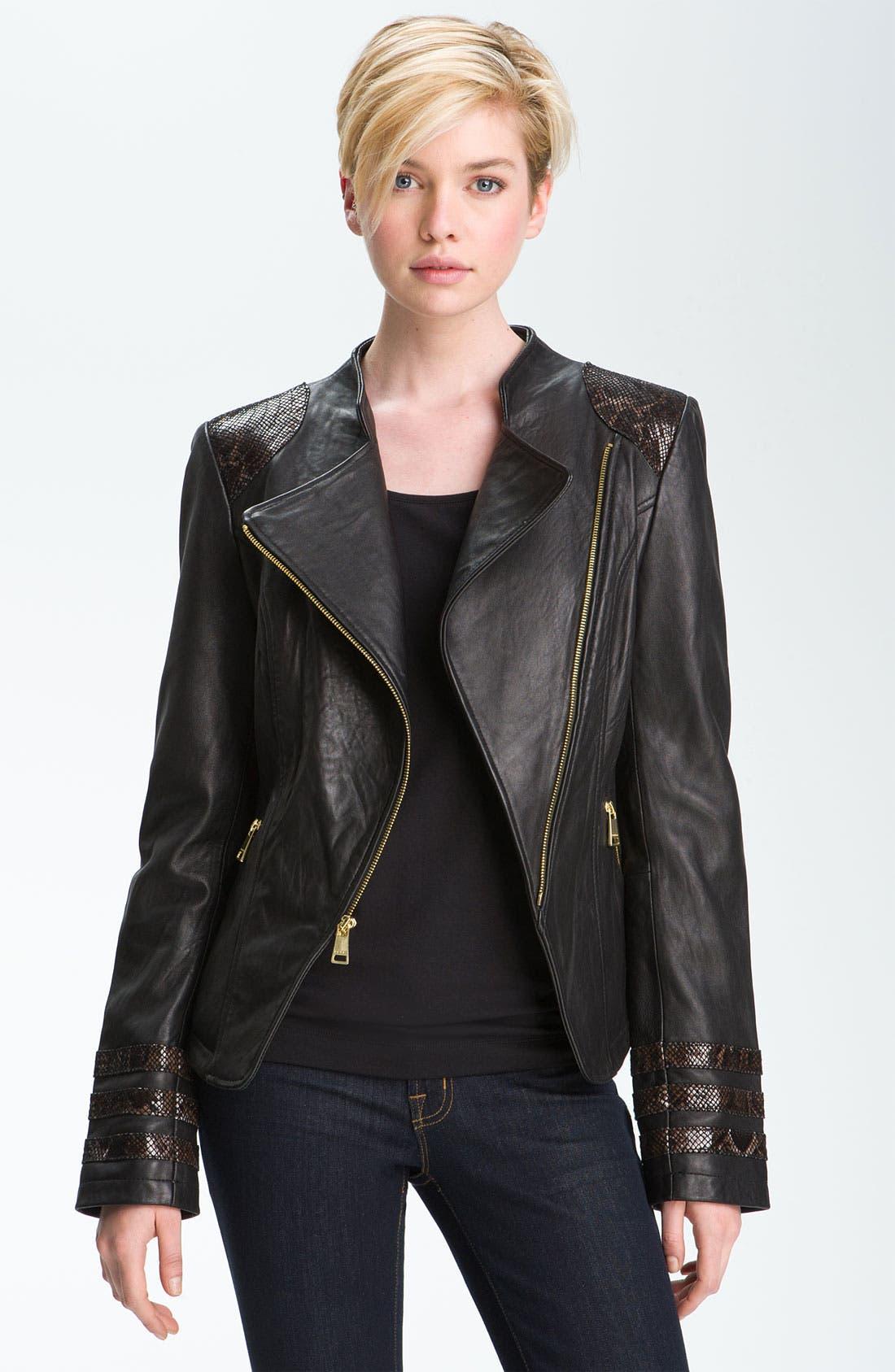 Main Image - bebe Snakeskin Embossed Trim Leather Jacket
