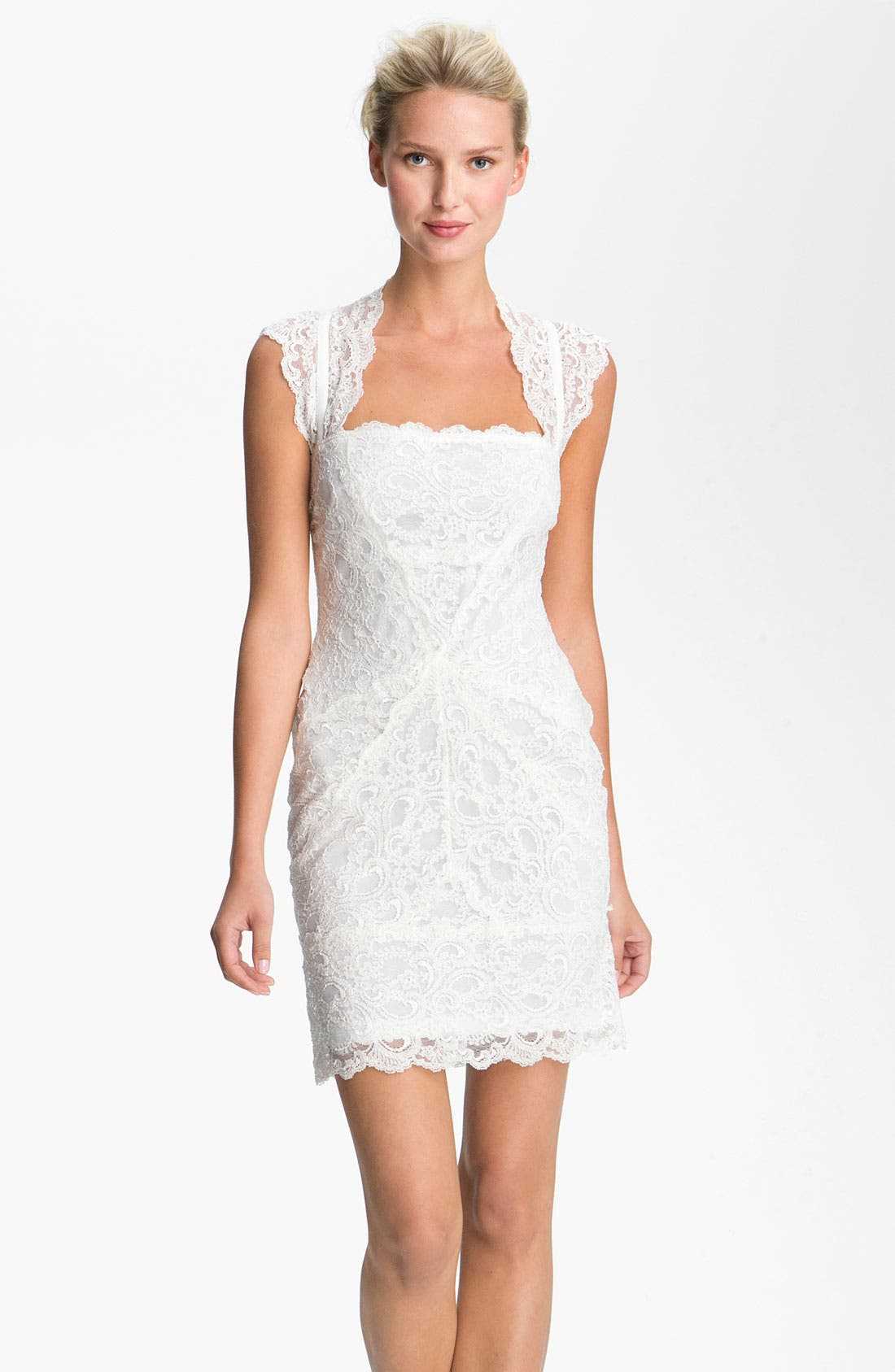 Alternate Image 1 Selected - Nicole Miller Wide Strap Lace Sheath Dress