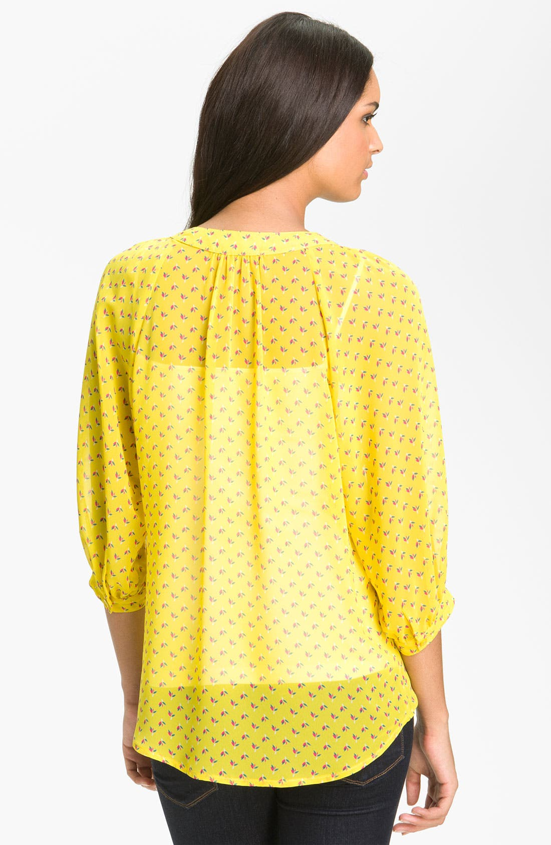 Alternate Image 2  - Olivia Moon Sheer Print Henley Blouse