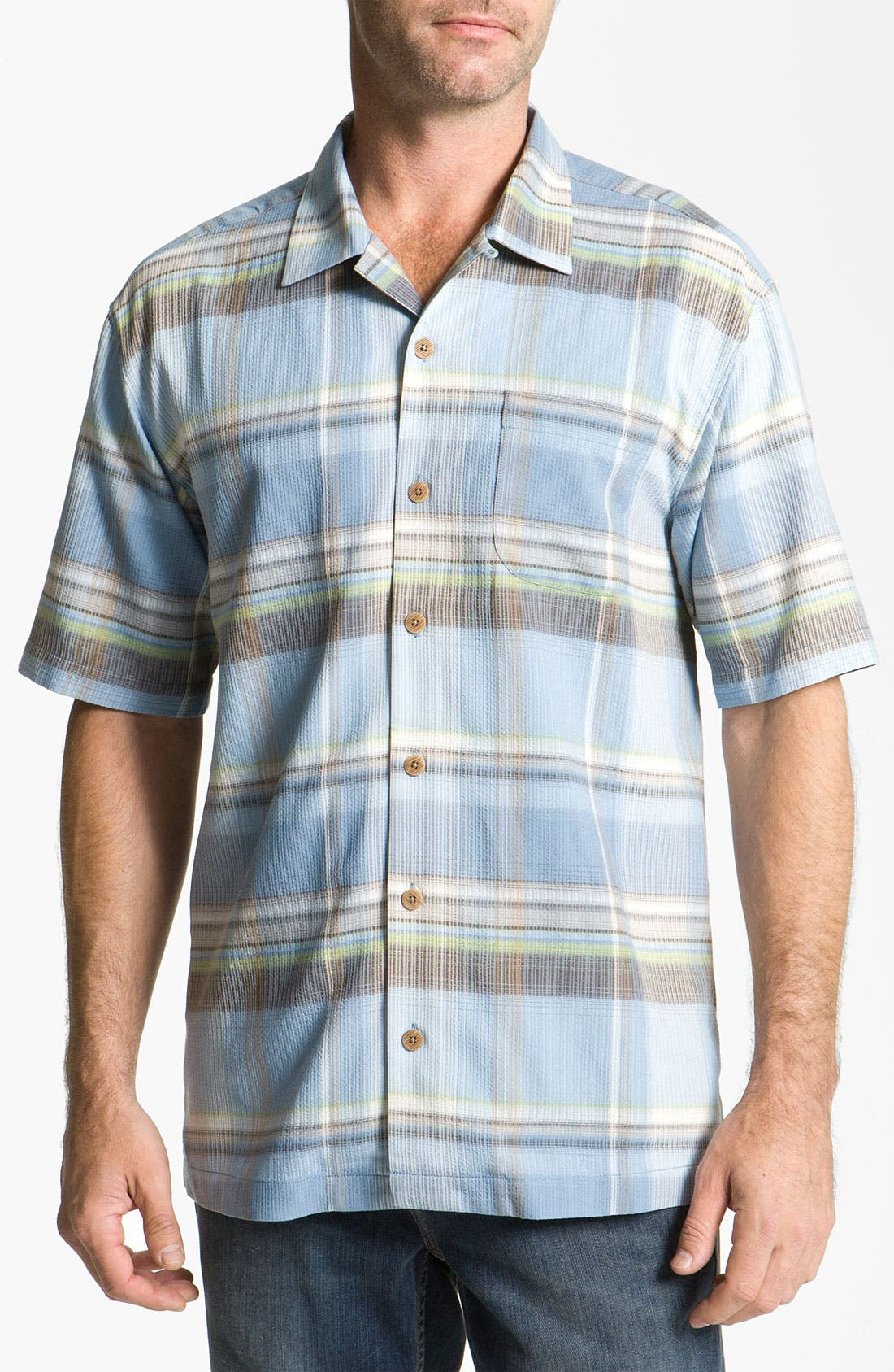 Alternate Image 1 Selected - Tommy Bahama 'Big Bad Plaid' Silk Campshirt