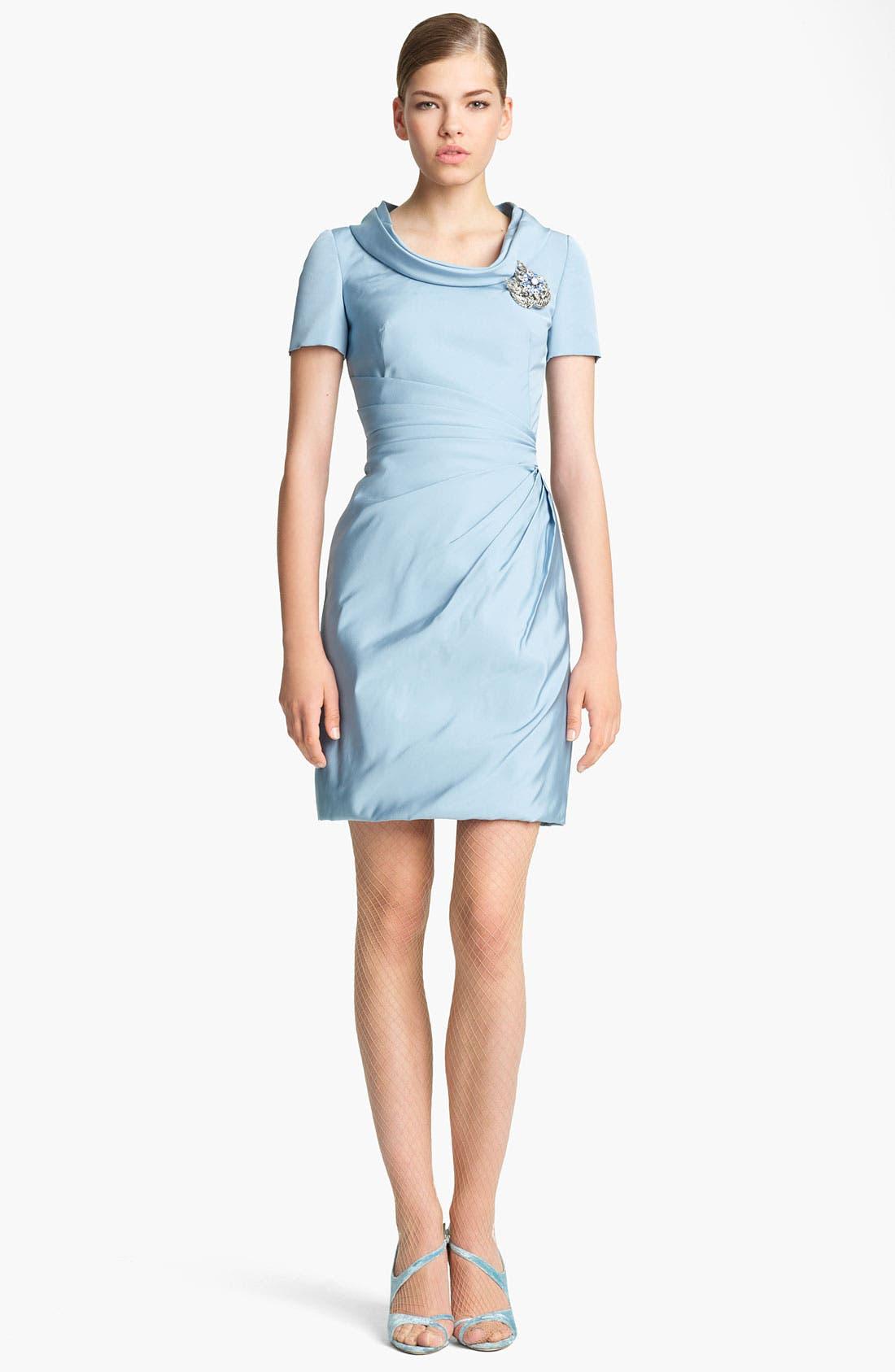Alternate Image 1 Selected - Oscar de la Renta Silk Faille Dress