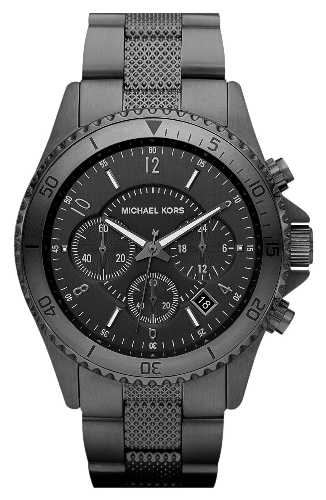 Alternate Image 1 Selected - Michael Kors Chronograph Knurled Bracelet Watch