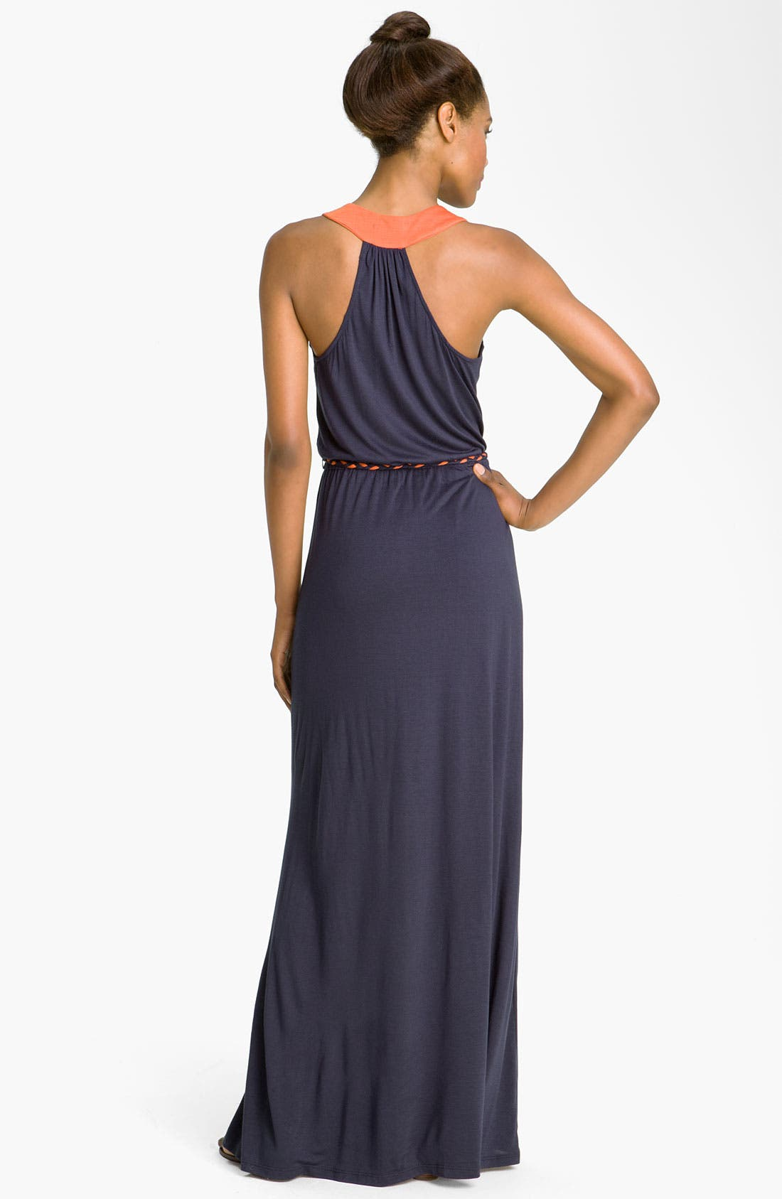 Alternate Image 2  - Max & Mia Contrast Trim Maxi Dress
