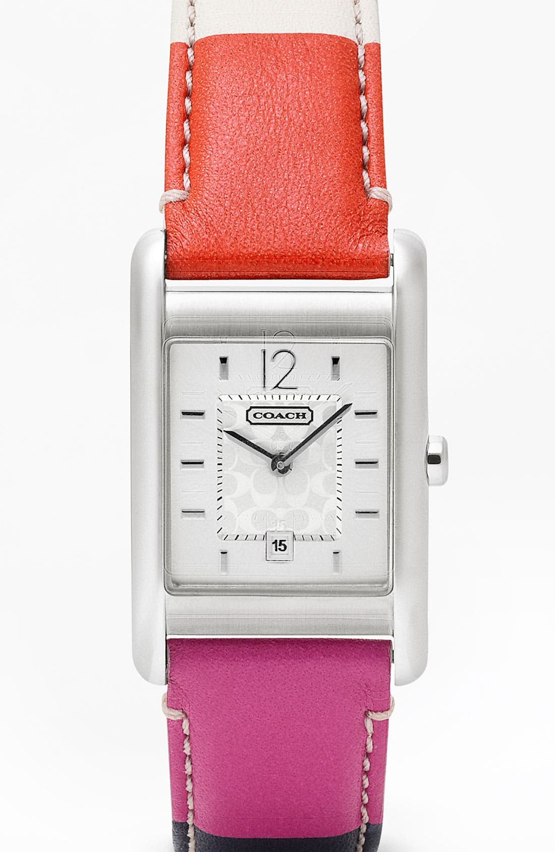 Alternate Image 1 Selected - COACH 'Carlisle' Square Leather Strap Watch
