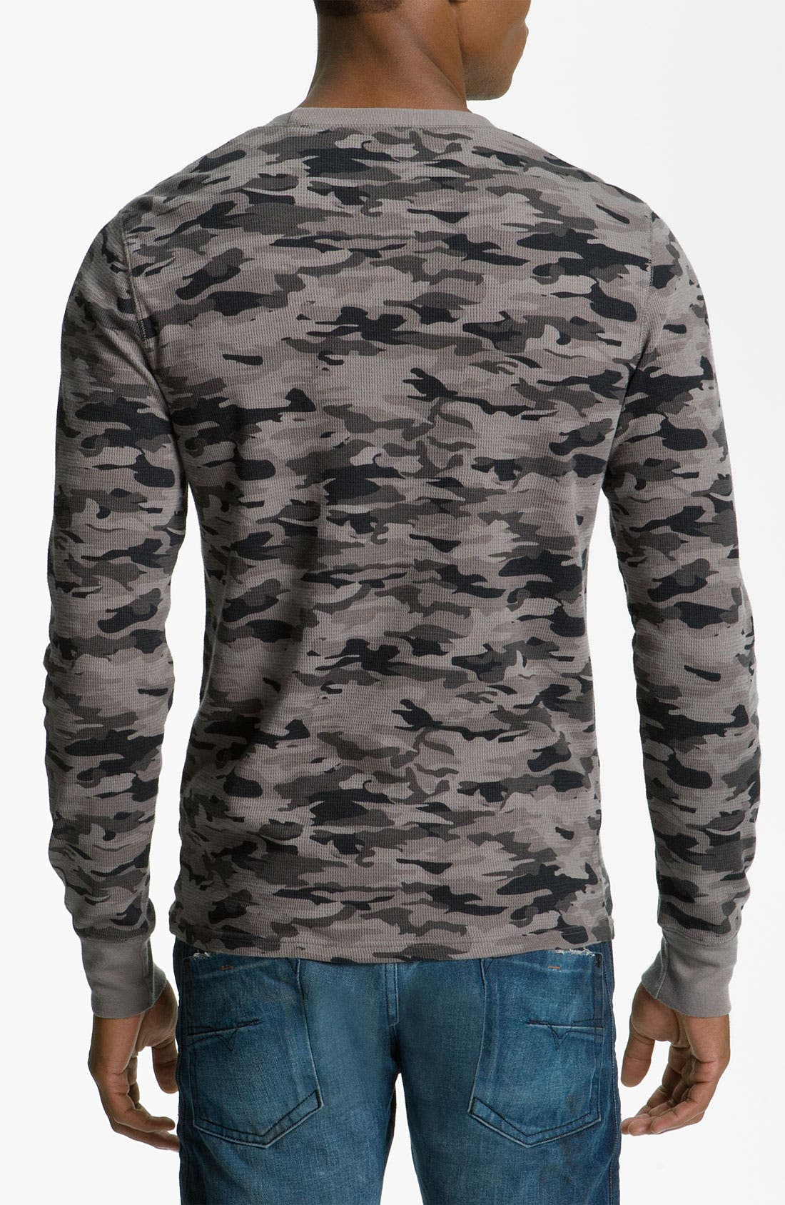 The Rail by Public Opinion Camo Thermal Shirt,                             Alternate thumbnail 2, color,                             Tonal Black Camo