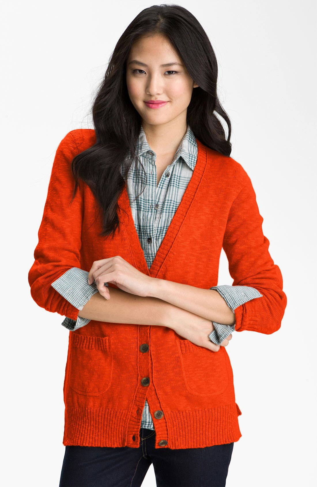 Main Image - Caslon® Slub Knit Button Front Cardigan