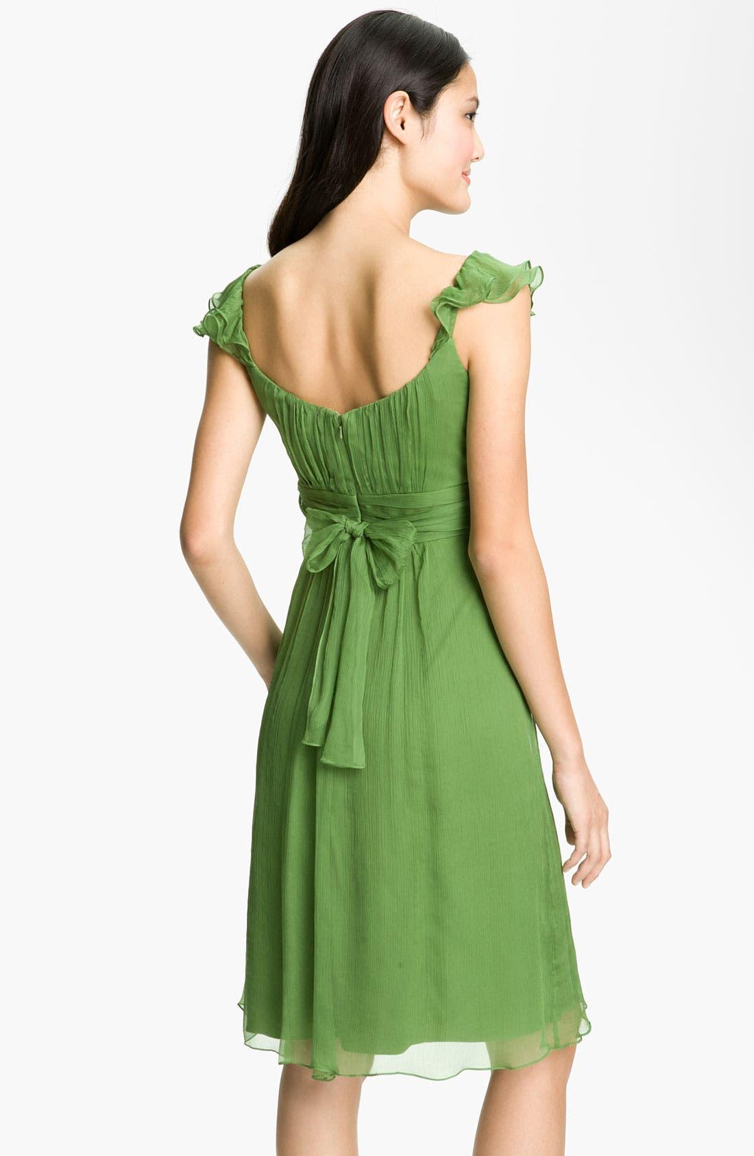 Alternate Image 2  - Amsale Ruffle Sleeve Empire Waist Silk Chiffon Dress
