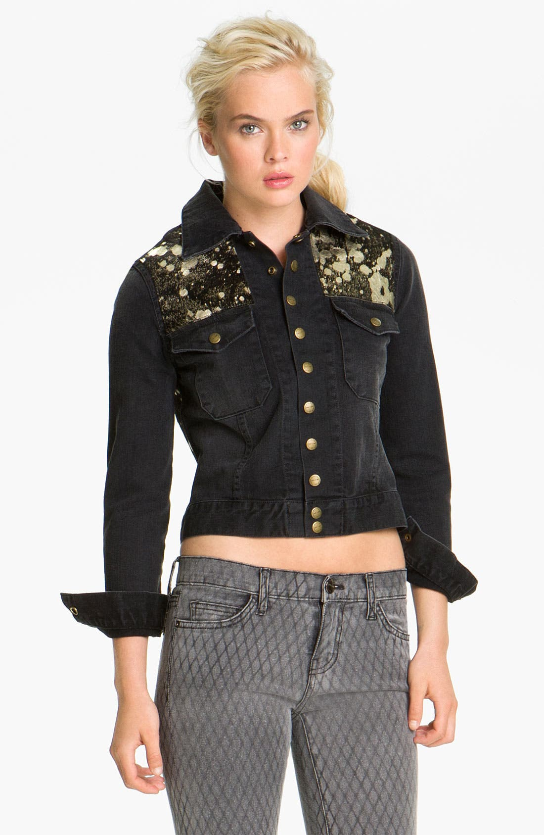 Main Image - Current/Elliott 'The Snap' Metallic Leather & Denim Jacket