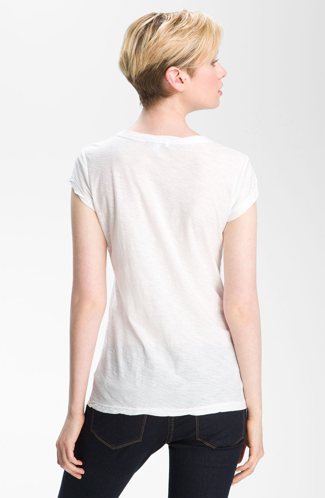 Textured Scoop Neck Tee,                             Alternate thumbnail 2, color,                             White