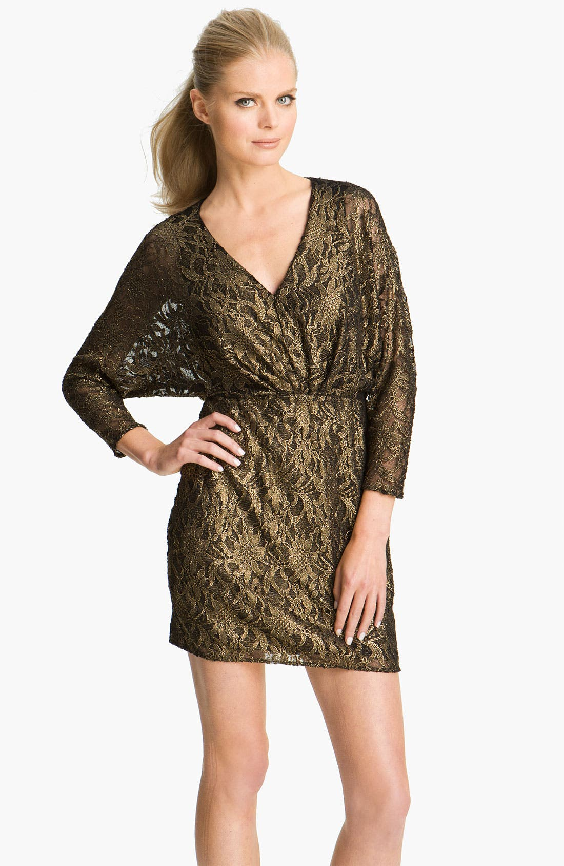 Alternate Image 1 Selected - Trina Turk 'Birch' Metallic Lace Blouson Dress