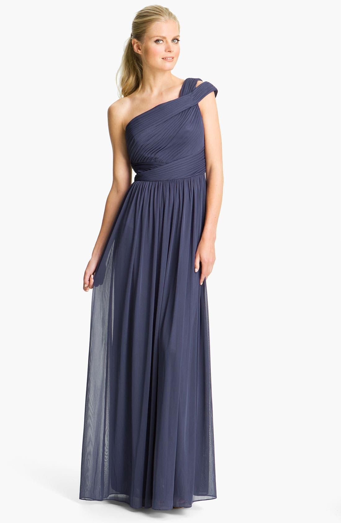 Main Image - ML Monique Lhuillier Bridesmaids Cutout One-Shoulder Mesh Gown (Nordstrom Exclusive)