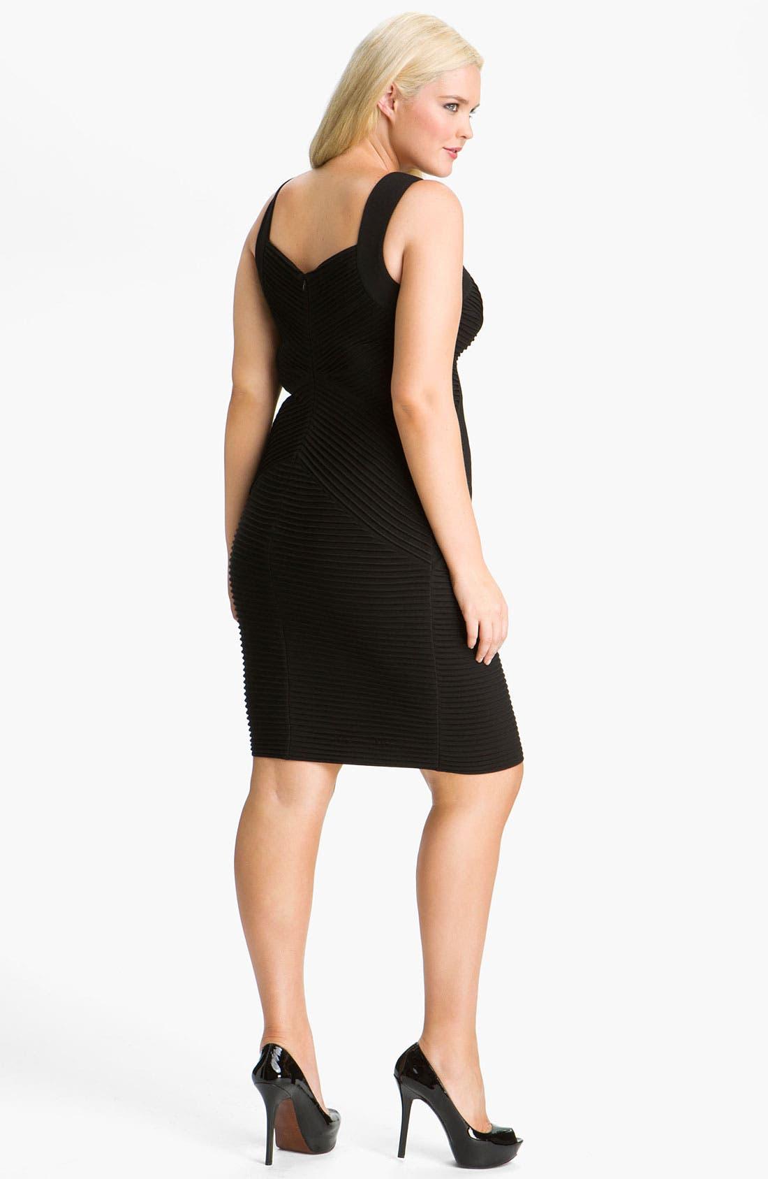Alternate Image 2  - Calvin Klein Pleat Panel Jersey Sheath Dress (Plus)