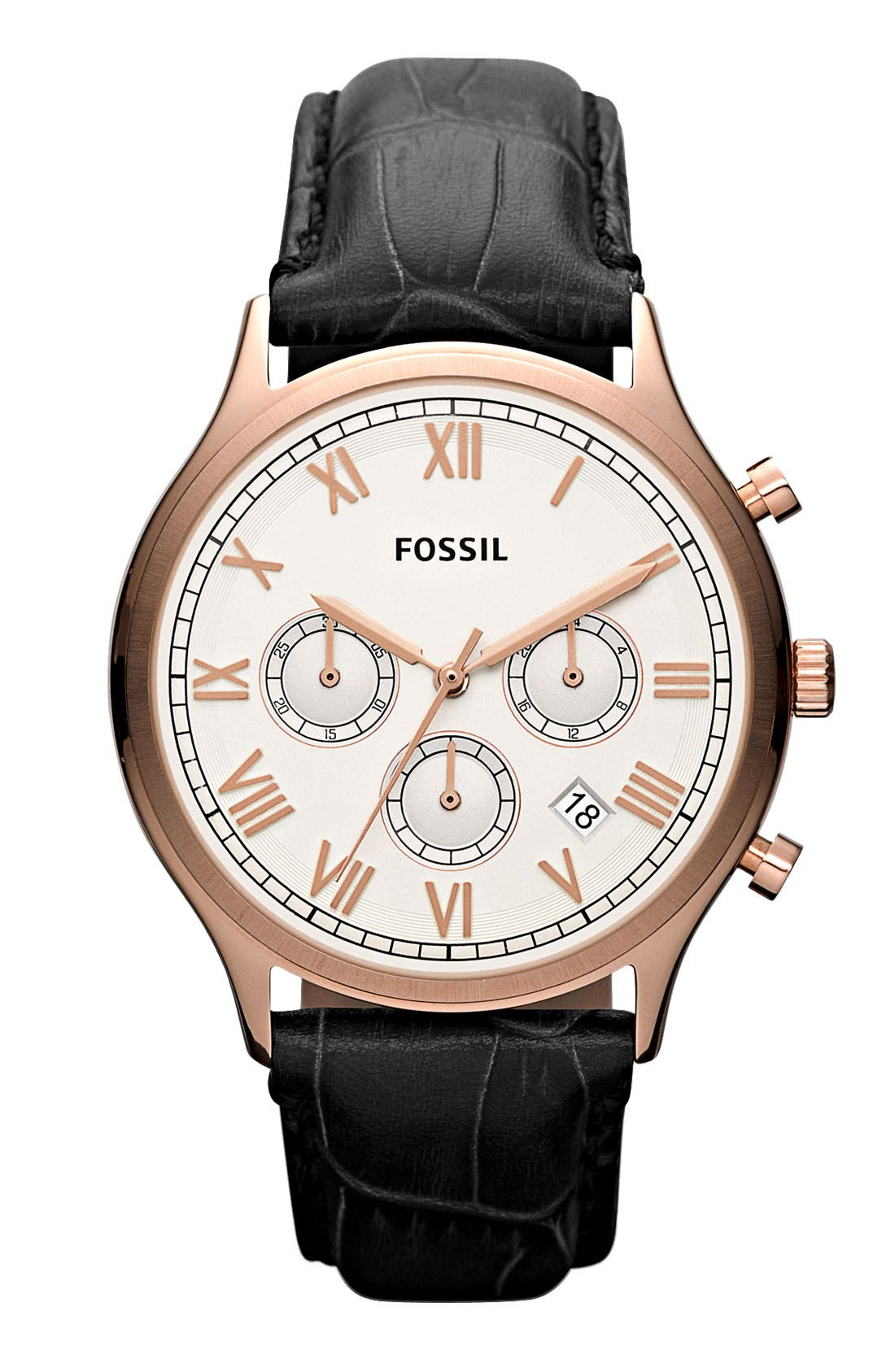 Alternate Image 1 Selected - Fossil 'Ansel' Round Chronograph Leather Strap Watch, 41mm