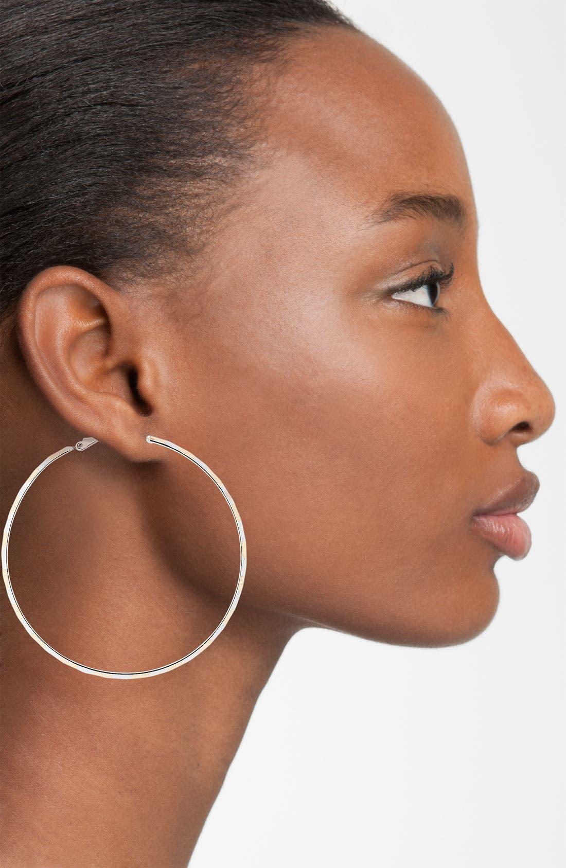 Alternate Image 2  - Natasha Couture Medium Two Tone Hoop Earrings