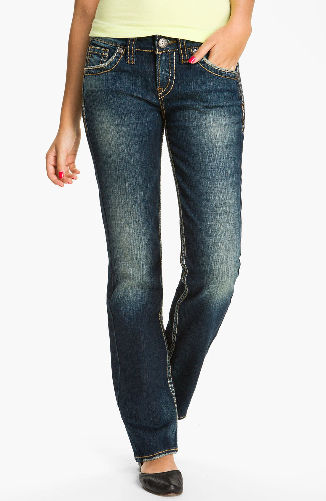 Alternate Image 1 Selected - Silver Jeans Co. 'Lola' Bootcut Jeans (Juniors)