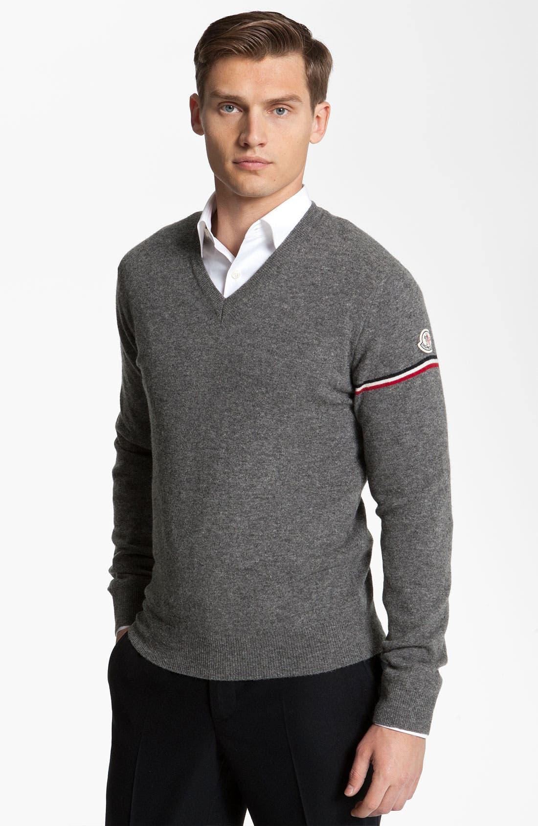 Alternate Image 1 Selected - Moncler Wool V-Neck Sweater