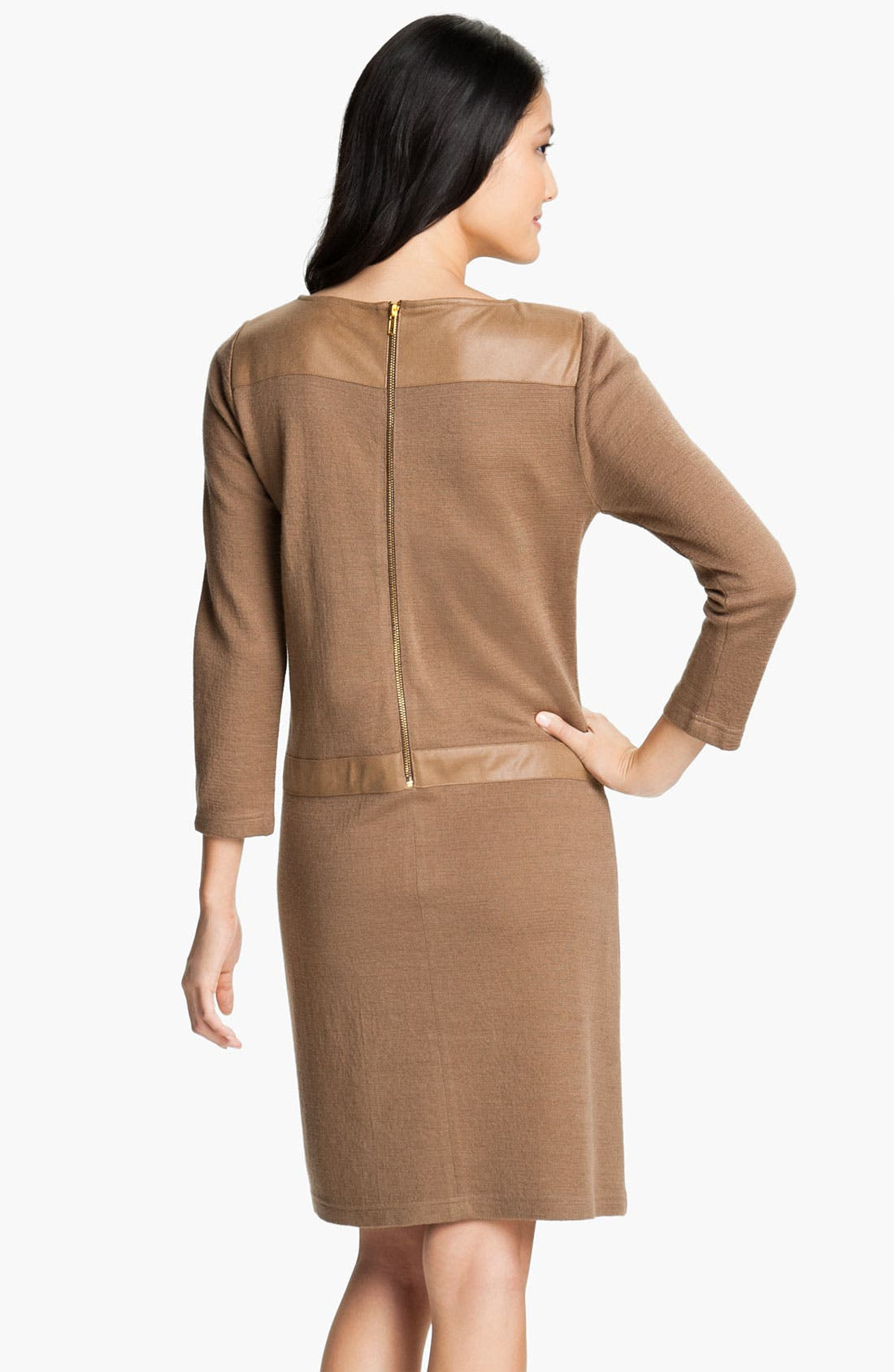 Alternate Image 2  - Tahari Faux Leather Trim A-Line Sweater Dress