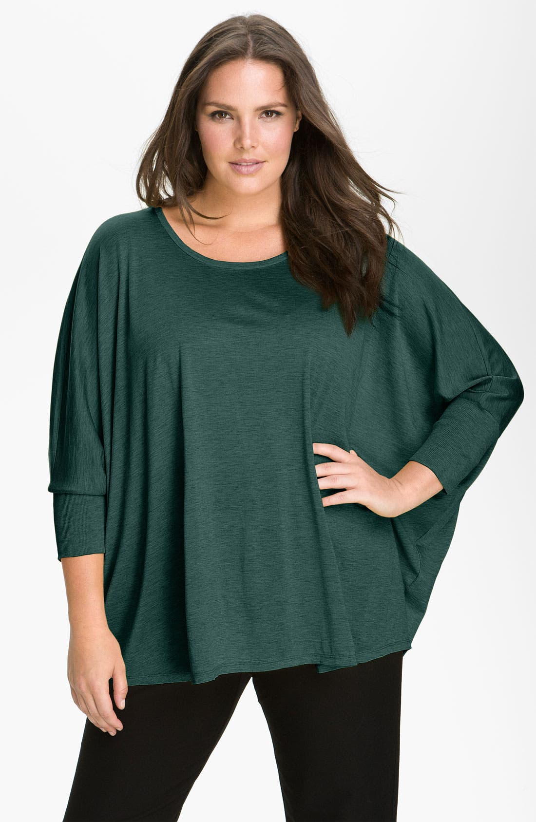 Alternate Image 1 Selected - Eileen Fisher Boxy Dolman Sleeve Top (Plus)
