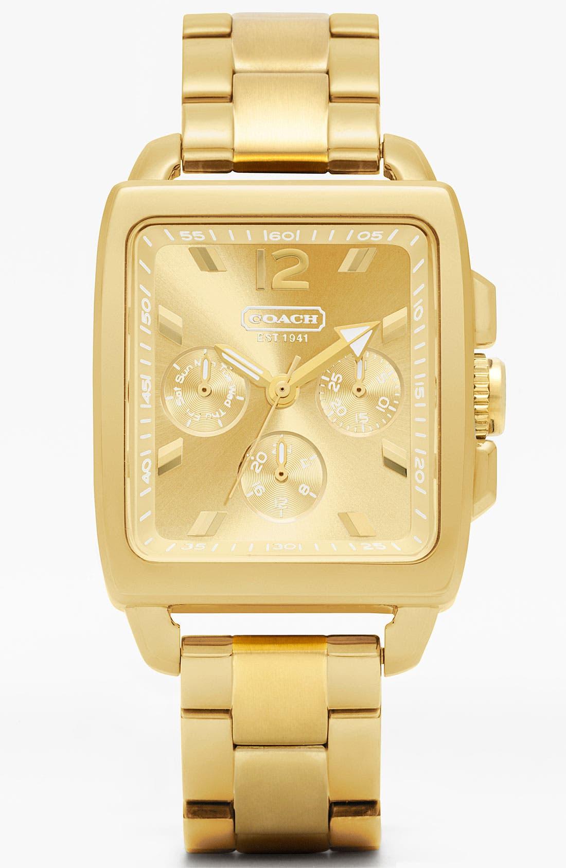 Alternate Image 1 Selected - COACH 'Boyfriend' Square Bracelet Watch