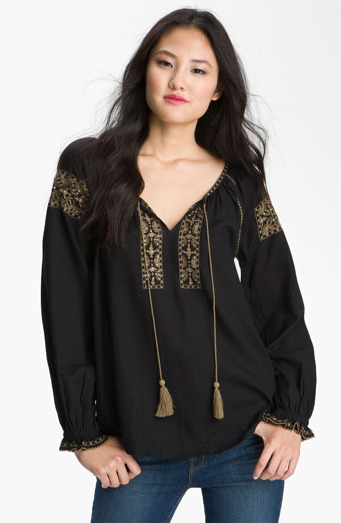 Alternate Image 1 Selected - Lucky Brand 'Rhiannon' Peasant Top (Plus)