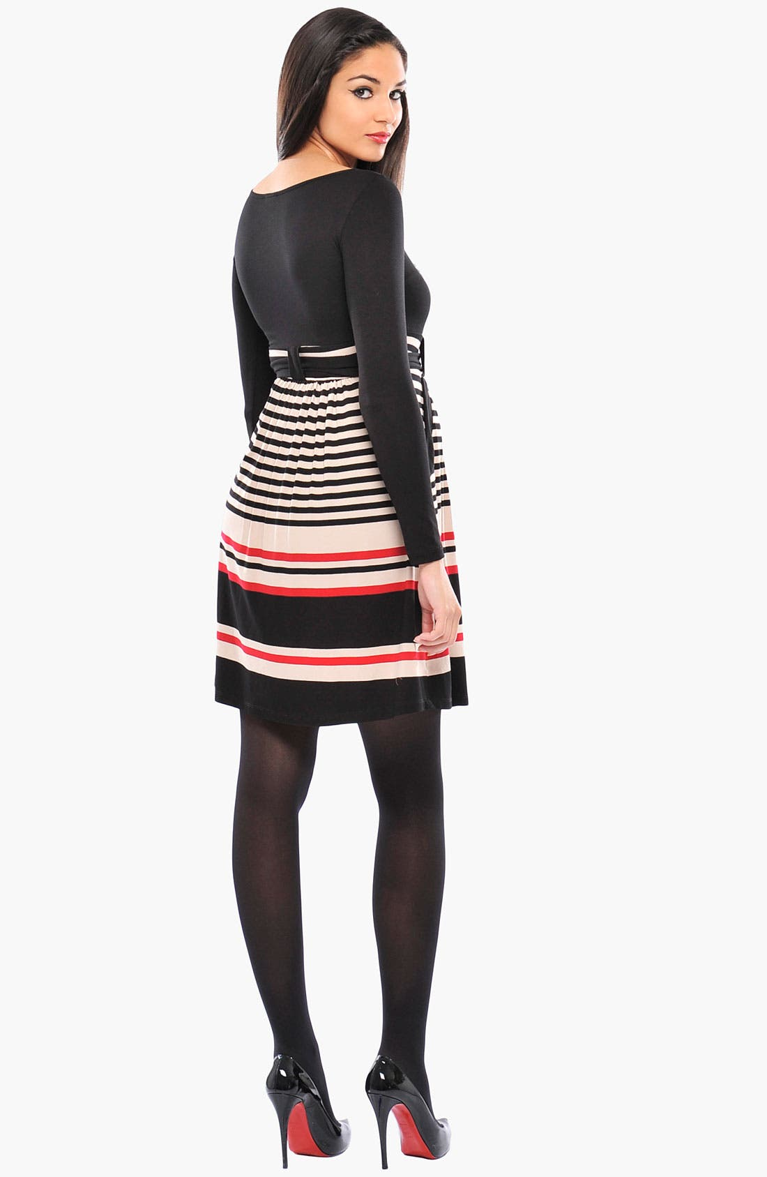 Alternate Image 2  - Olian 'Kayla' Stripe Cross Front Maternity Tunic