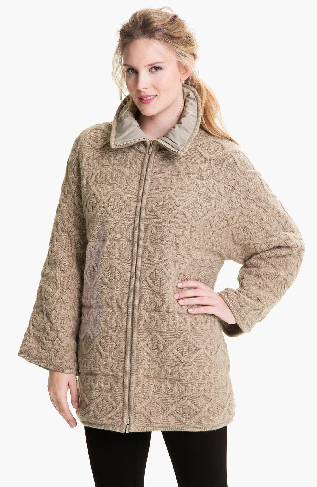Alternate Image 1 Selected - Lafayette 148 New York Oversized Cable Knit Coat