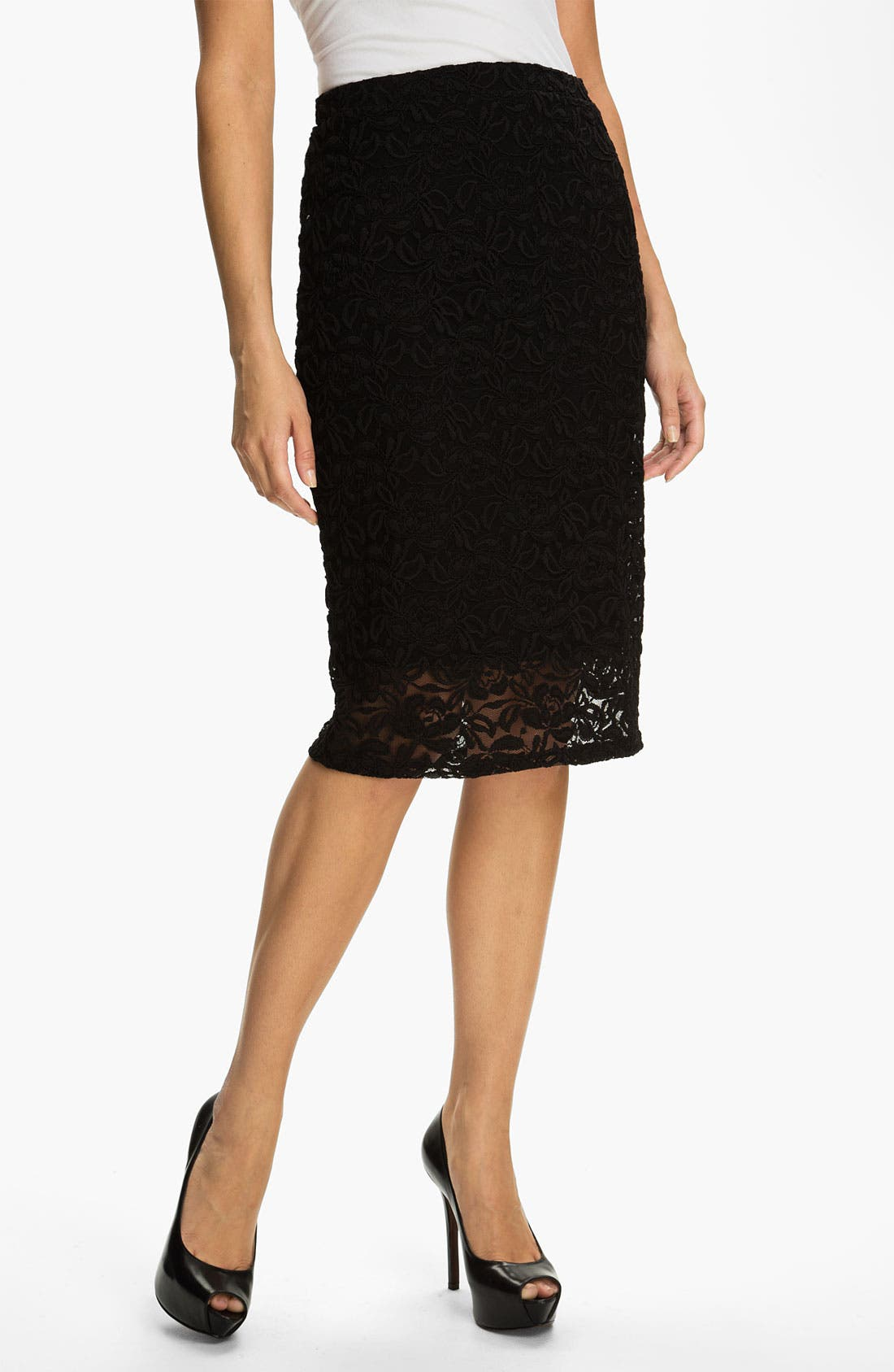 Main Image - Bobeau Lace Midi Skirt