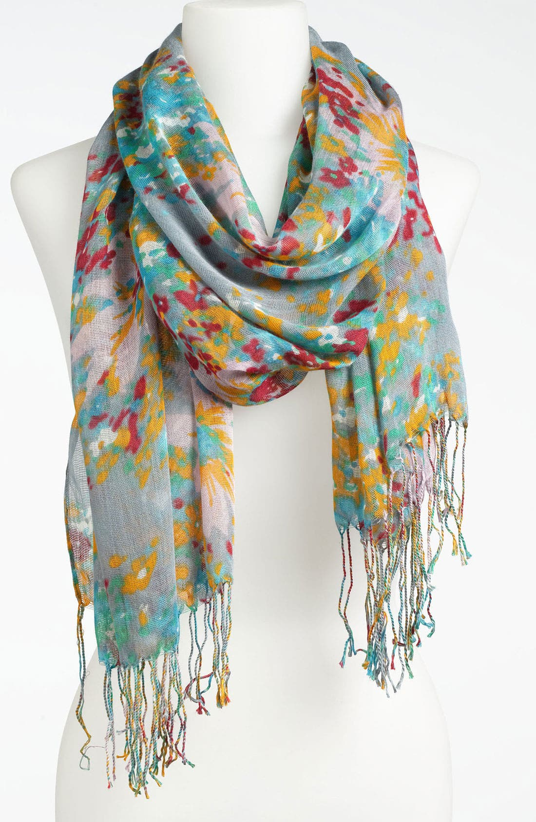 Alternate Image 1 Selected - Lulu Watercolor Floral Fringe Scarf