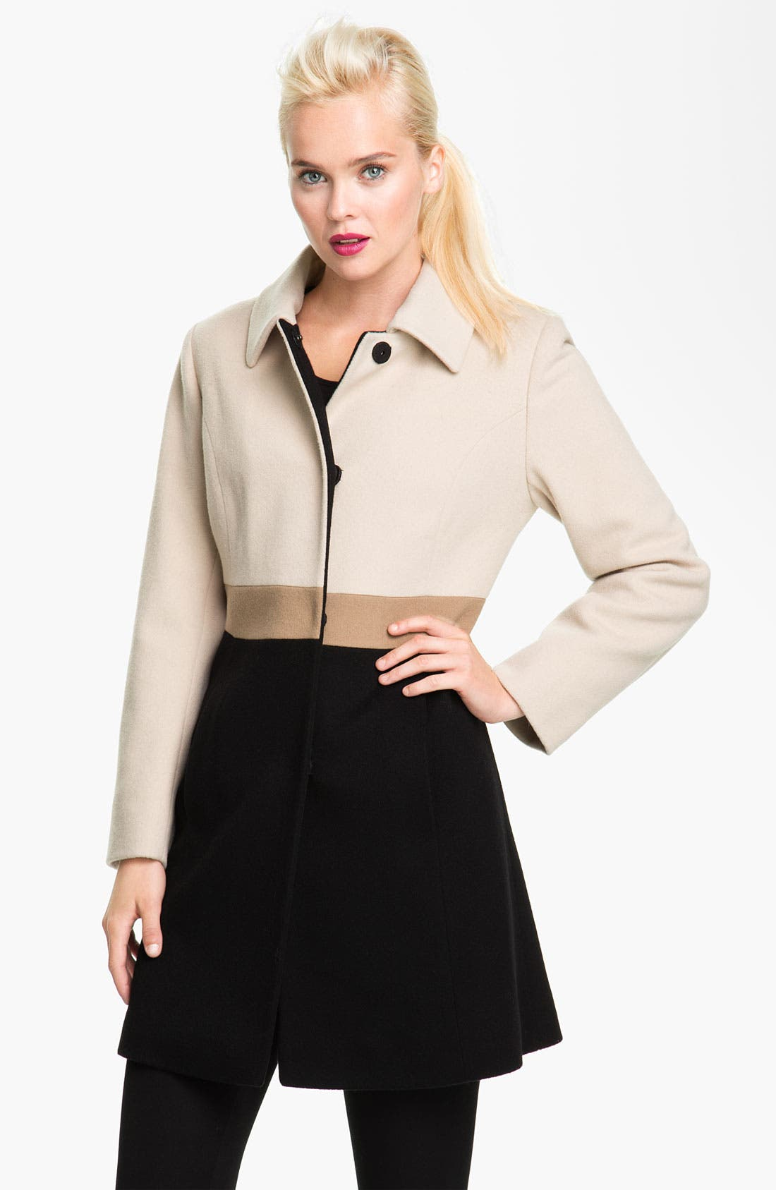 Main Image - Fleurette Colorblock Wool Walking Coat (Petite)