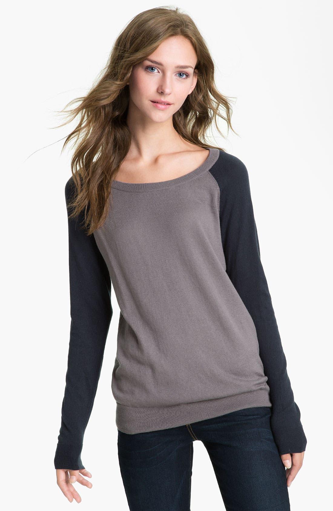 Alternate Image 1 Selected - BP. Baseball Sweater (Juniors)