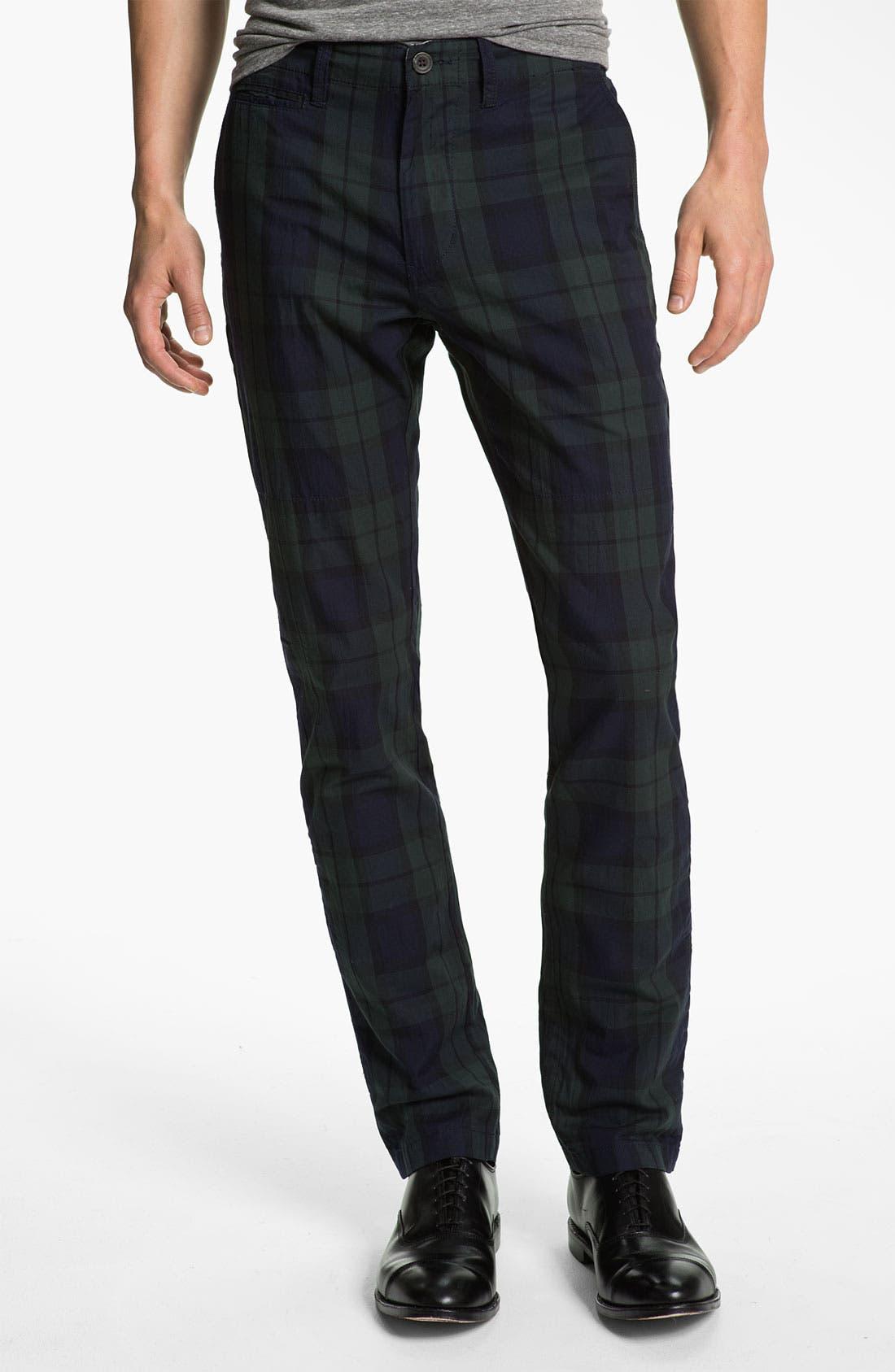 Main Image - Just A Cheap Shirt Tartan Plaid Slim Straight Leg Chinos