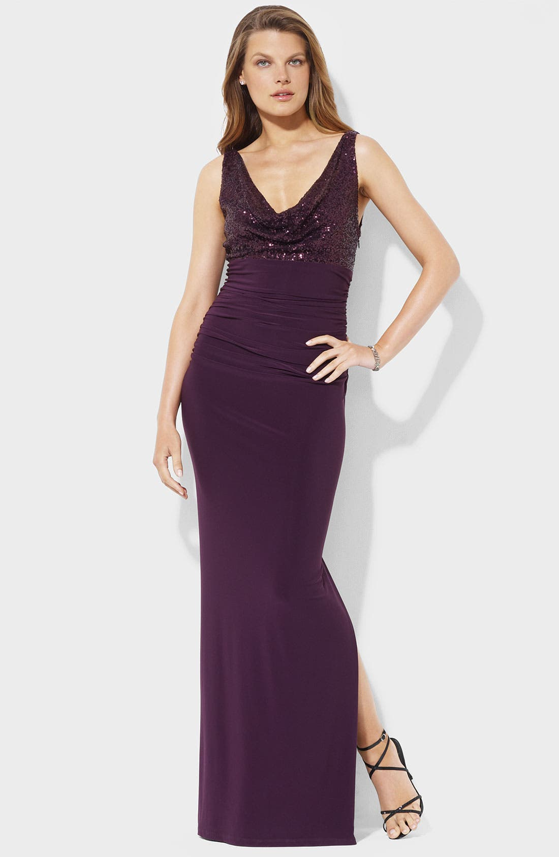 Alternate Image 1 Selected - Lauren Ralph Lauren Sequin Cowl Neck Jersey Gown