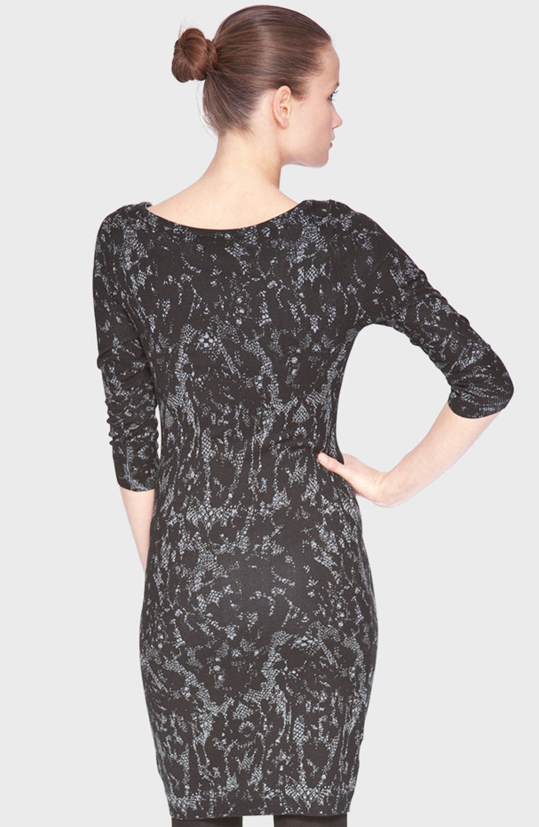 Alternate Image 2  - Marc New York by Andrew Marc Lace Print Sweater Dress