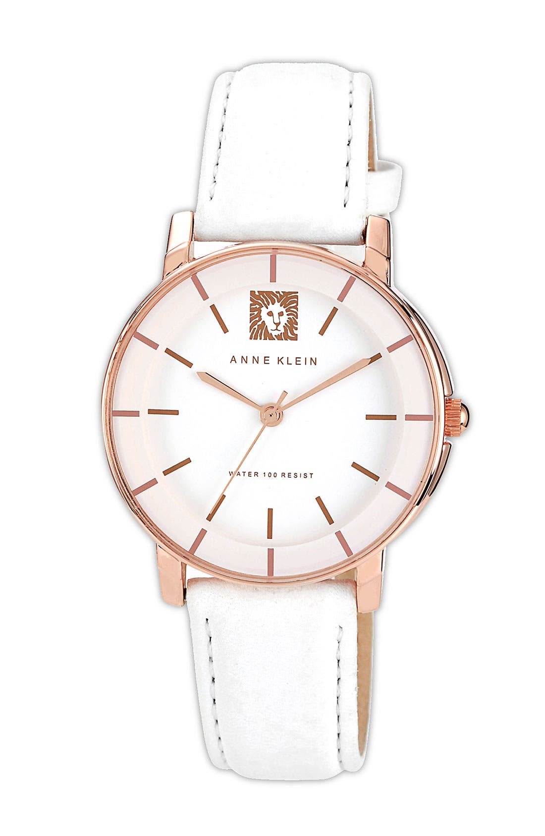Main Image - Anne Klein Round Leather Strap Watch