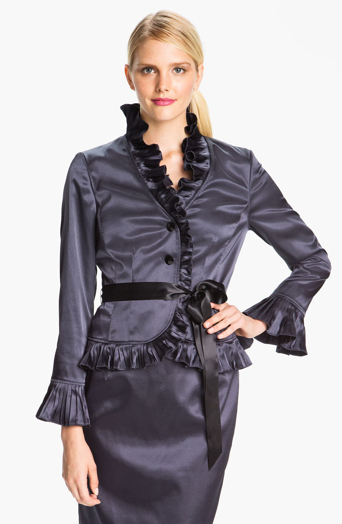 Alternate Image 1 Selected - Adrianna Papell Ruffle Trim Satin Jacket
