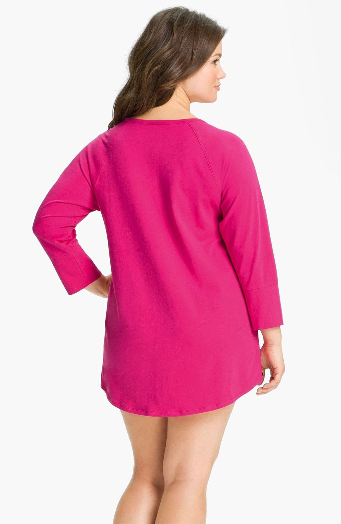 Alternate Image 2  - Betsey Johnson Stretch Cotton Sleep Shirt (Plus)