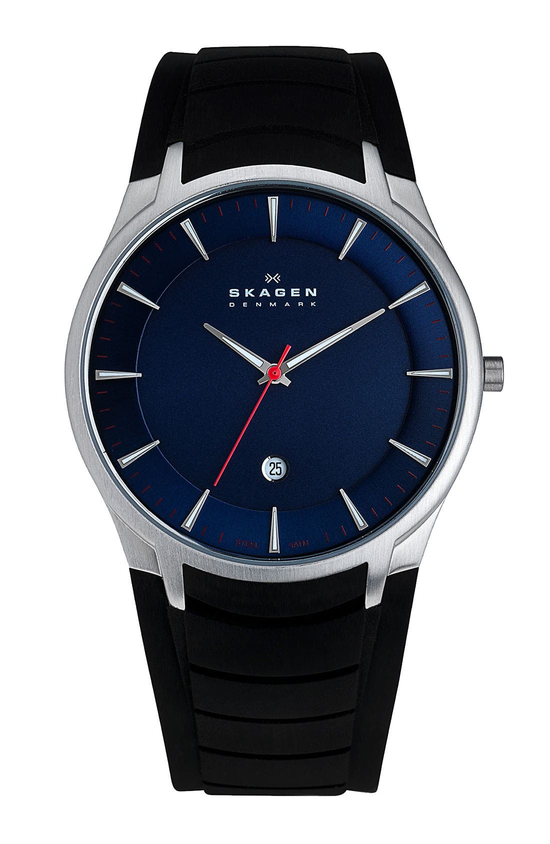 Alternate Image 1 Selected - Skagen Round Silicone Strap Watch