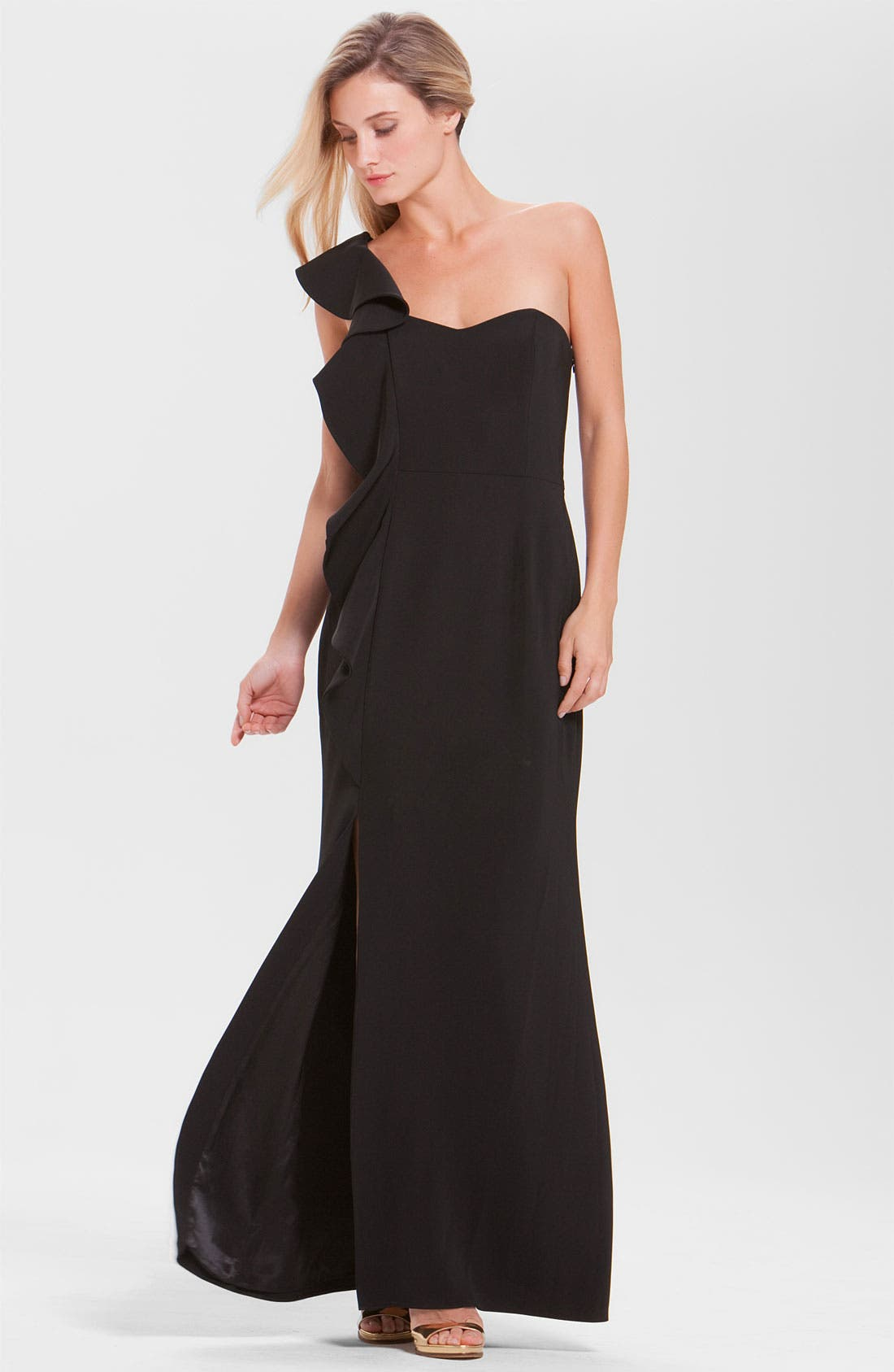 Alternate Image 1 Selected - Laundry by Shelli Segal Ruffle One Shoulder Gown