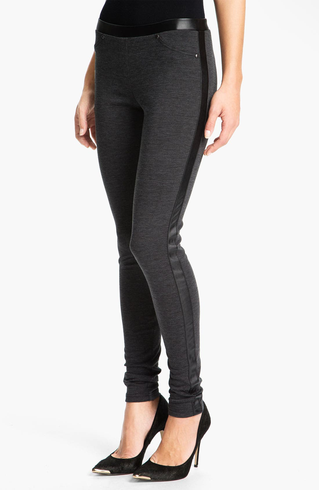 Alternate Image 1 Selected - Trouvé Faux Leather Tux Trim Leggings