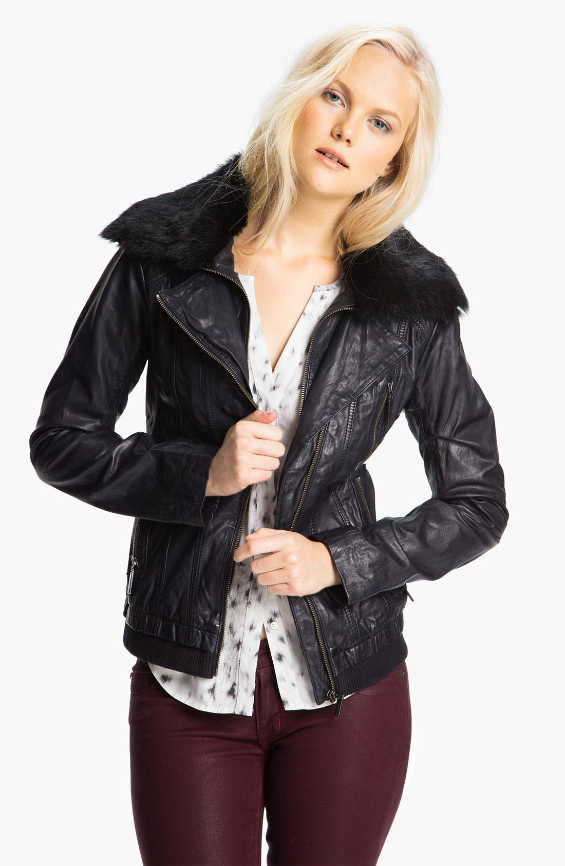 Alternate Image 1 Selected - Bernardo Leather Scuba Jacket with Genuine Rabbit Fur