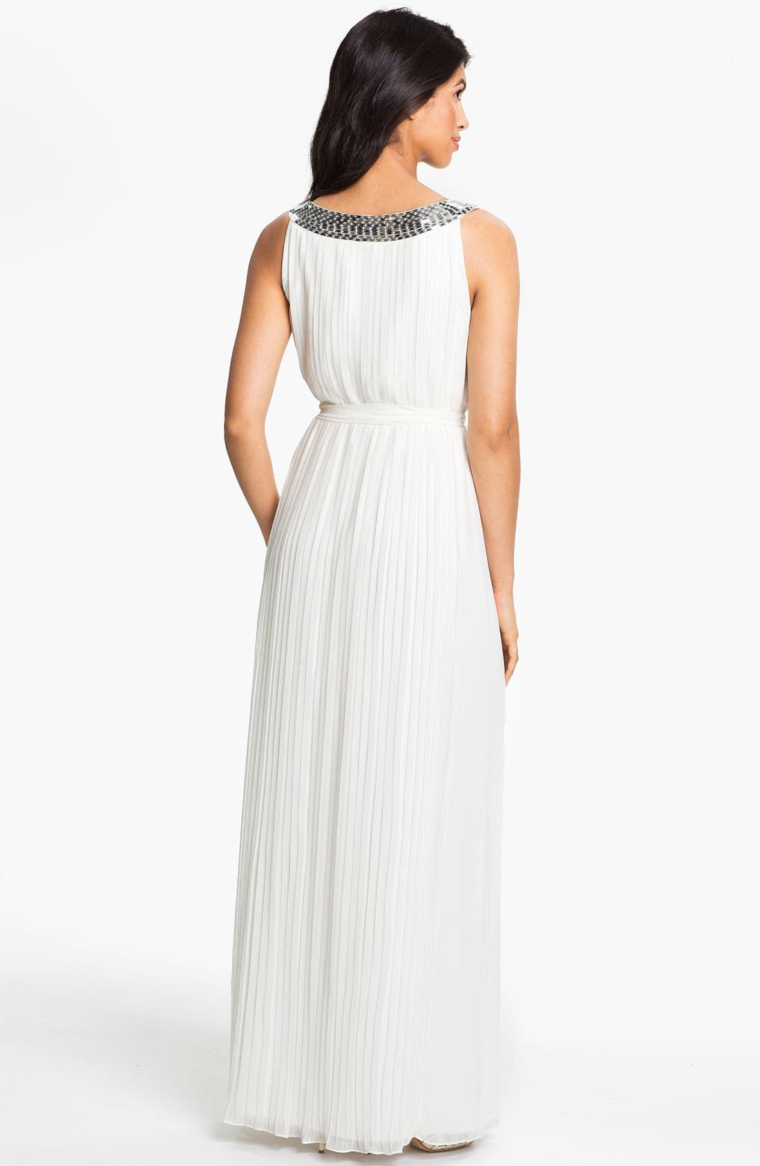 Alternate Image 2  - Calvin Klein Sequin Neck Pleated Chiffon Gown