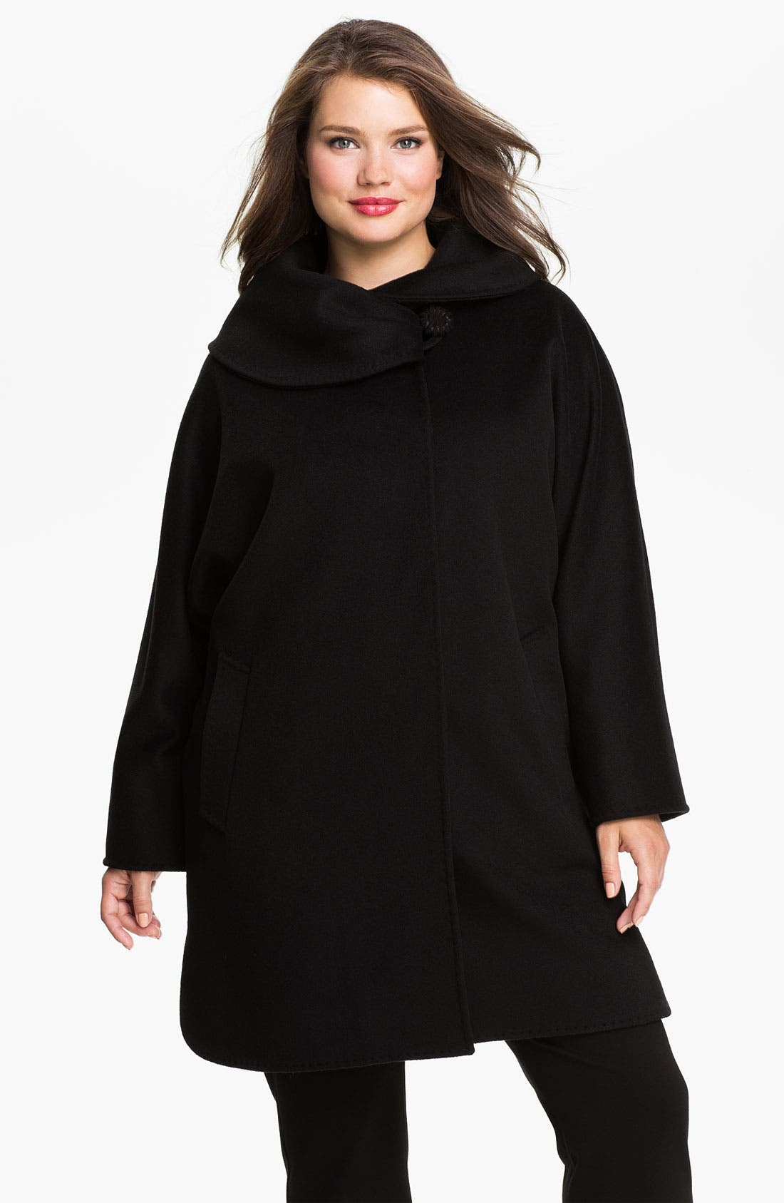 Main Image - Cinzia Rocca Asymmetrical Collar Wool Coat (Plus)