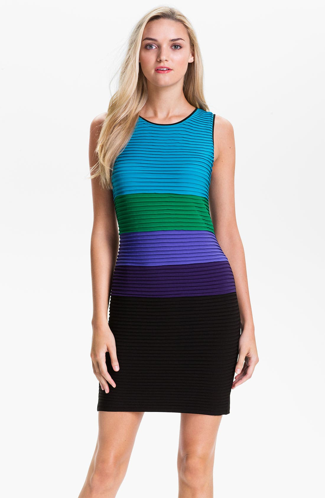 Main Image - Calvin Klein Pleated Colorblock Jersey Dress