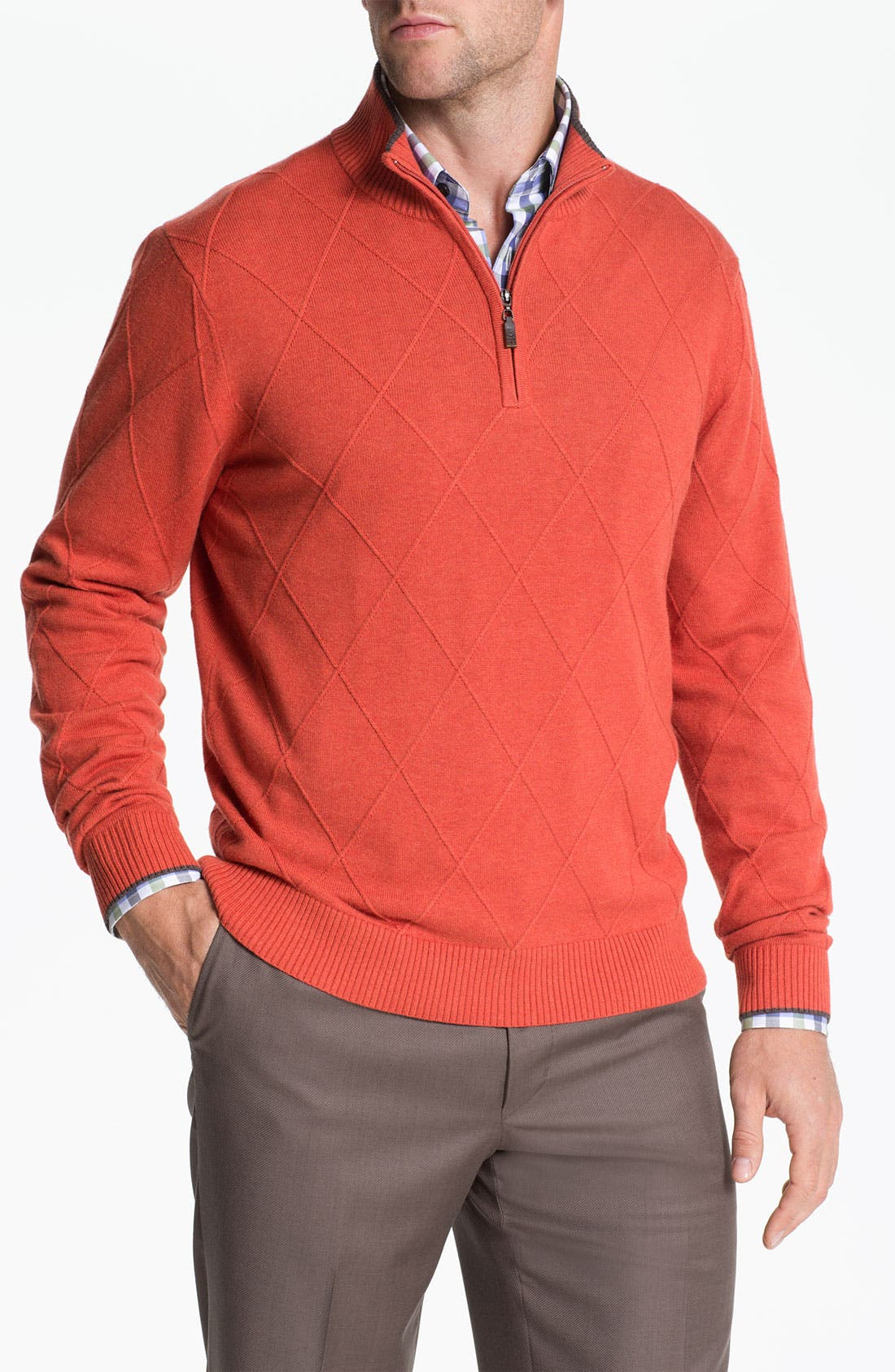 Main Image - Robert Talbott Cotton & Cashmere Quarter Zip Sweater