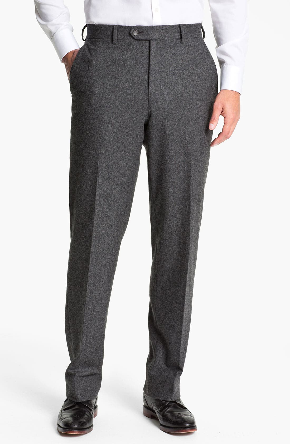 Alternate Image 1 Selected - Robert Talbott Flat Front Wool Trousers