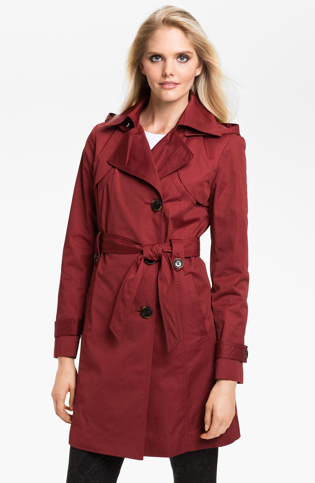 Alternate Image 1 Selected - Ellen Tracy Water Repellent Trench Coat (Online Only)